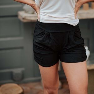 Pants - Black Harem Shorts